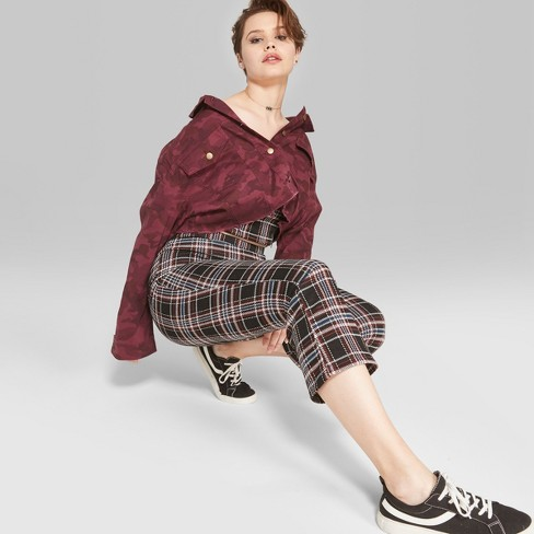 Womens Plaid Knit Kick Flare Cropped Pants Wild Fable Blackred