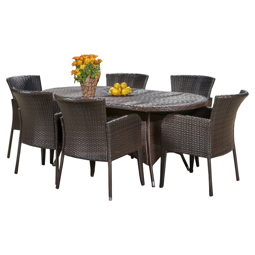 Corsica 7pc Wicker Dining Set - Multibrown - Christopher Knight Home, Brown