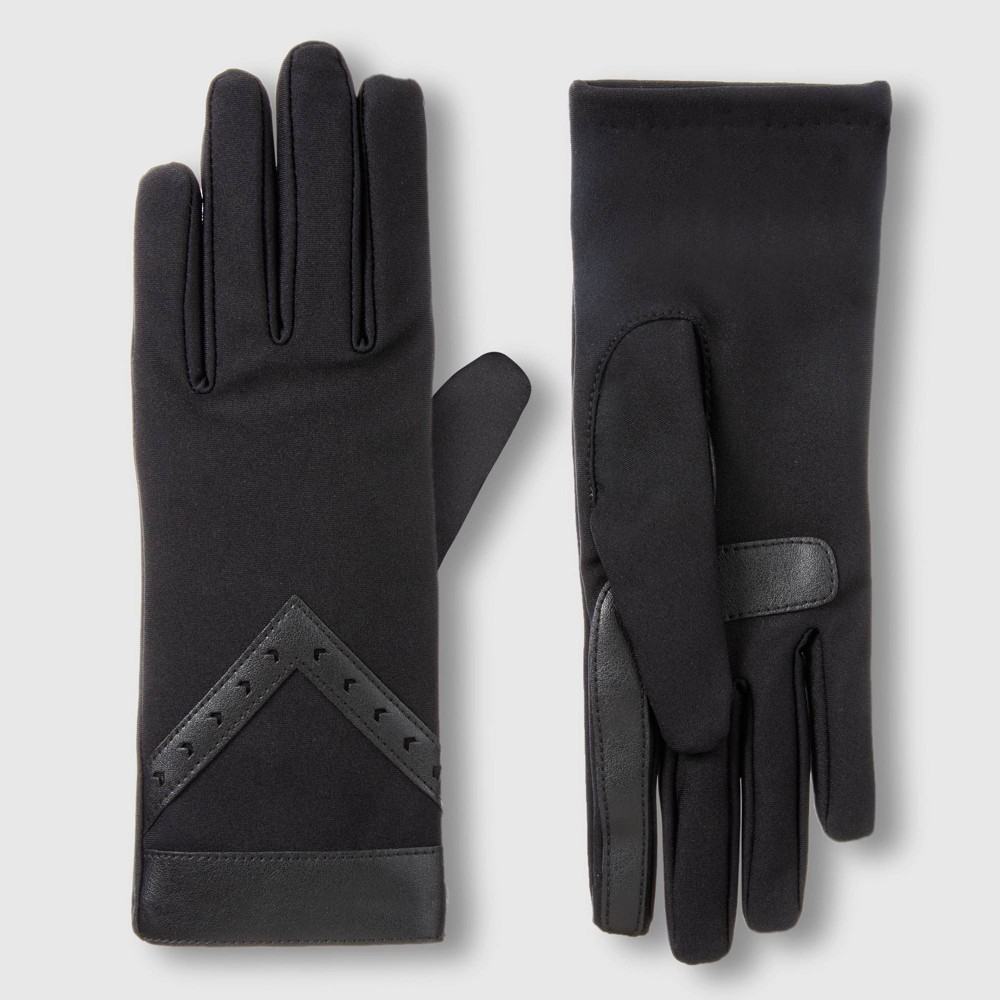 Image of Isotoner Women's Elongated SmartDri spandex Glove with perforated Chevron and SmarTouch - Black One Size, Women's