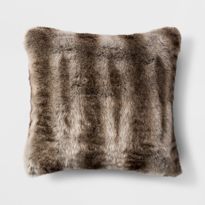 Textured Faux Fur Square Throw Pillow Brown - Threshold™