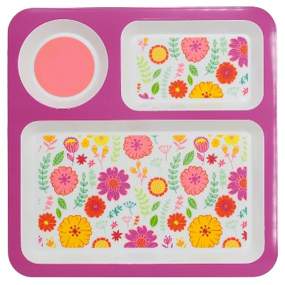 Divided Square Dinner Tray Floral Pink 10.5 x10.5  - Circo™