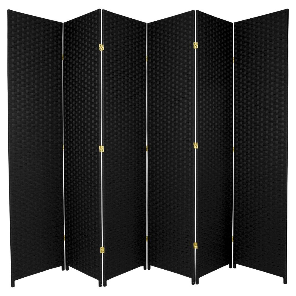7 ft. Tall Woven Fiber Room Divider - Black (6 Panels)