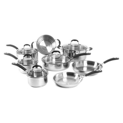 Oneida 13 Piece Stainless Steel Cookware Set With Glass Lids