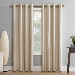 "52""x63"" Gavlin Crosshatch Jacquard Extreme 100% Blackout Grommet Top Curtain Panel Cream - Sun Zero"