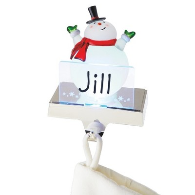 """Ganz 6.75"""" White and Red LED Lighted Frosted Snowman Christmas Stocking Holder Foralization"""