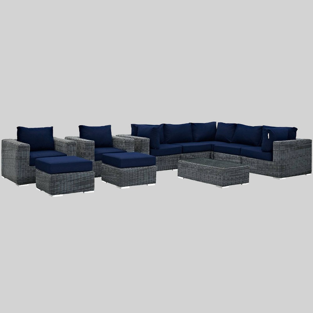 Summon 10pc Outdoor Patio Sectional Set with Sunbrella Fabric - Navy (Blue) - Modway