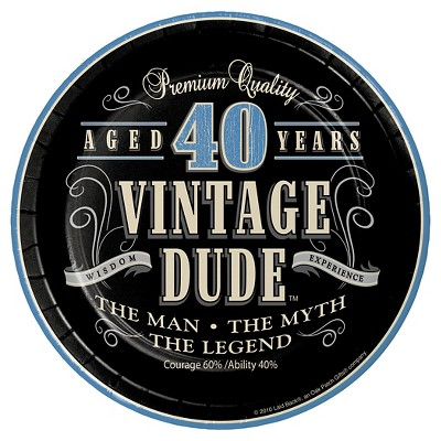 "Vintage Dude 40th Birthday 7"" Dessert Plates - 8ct"