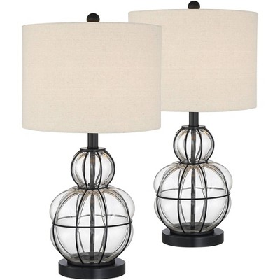 360 Lighting Modern Table Lamps Set of 2 Dark Bronze Blown Glass Gourd Burlap Fabric Drum Shade Living Room Bedroom Bedside Office
