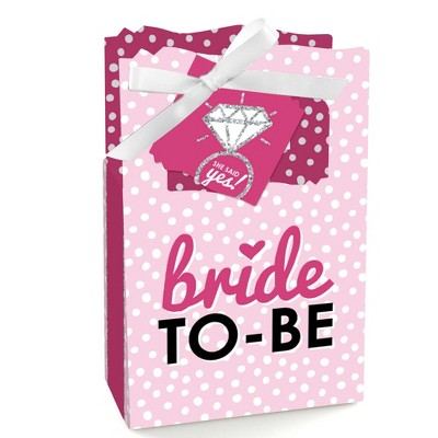 Big Dot of Happiness Bride-to-Be - Bridal Shower & Classy Bachelorette Party Favor Boxes - Set of 12