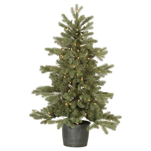 4ft Pre-Lit Artificial Christmas Tree Slim Green Frasier Fir Pot - Clear Lights - image 1 of 1