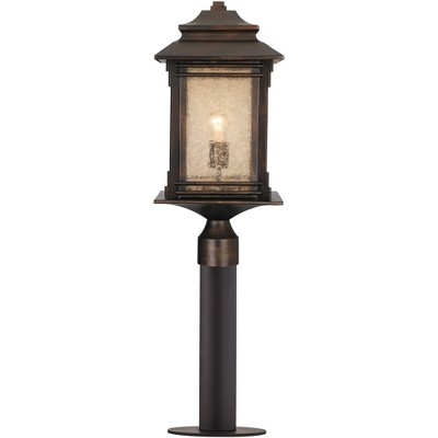 """Franklin Iron Works Rustic Industrial Outdoor Post Path Light Fixture Bronze Black 33 1/2"""" Frosted Cream Glass for Exterior House"""