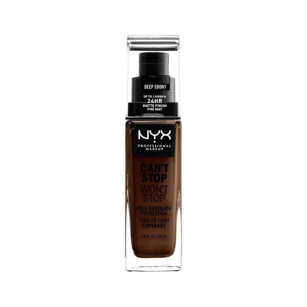 Image of NYX Professional Makeup Can't Stop Won't Stop Full Coverage Foundation Deep Ebony - 1.3 fl oz