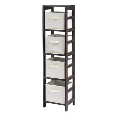 5pc Capri Set Storage Shelf with Folding Fabric Baskets Espresso Brown - Winsome