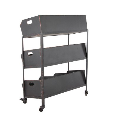 Metal Rolling Cart with 3 Shelves Black - Olivia & May