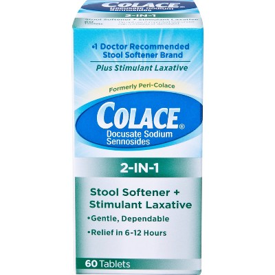 Colace 2-IN-1 Stool Softener + Stimulant Laxative - 60ct