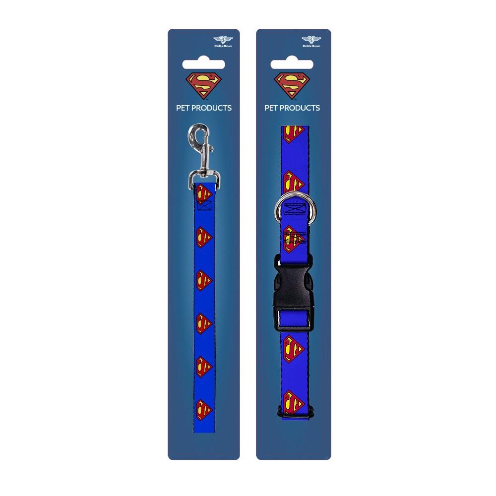 Superman - Buckle-Down Dog Leash & Collar Set - M, Multi-Colored