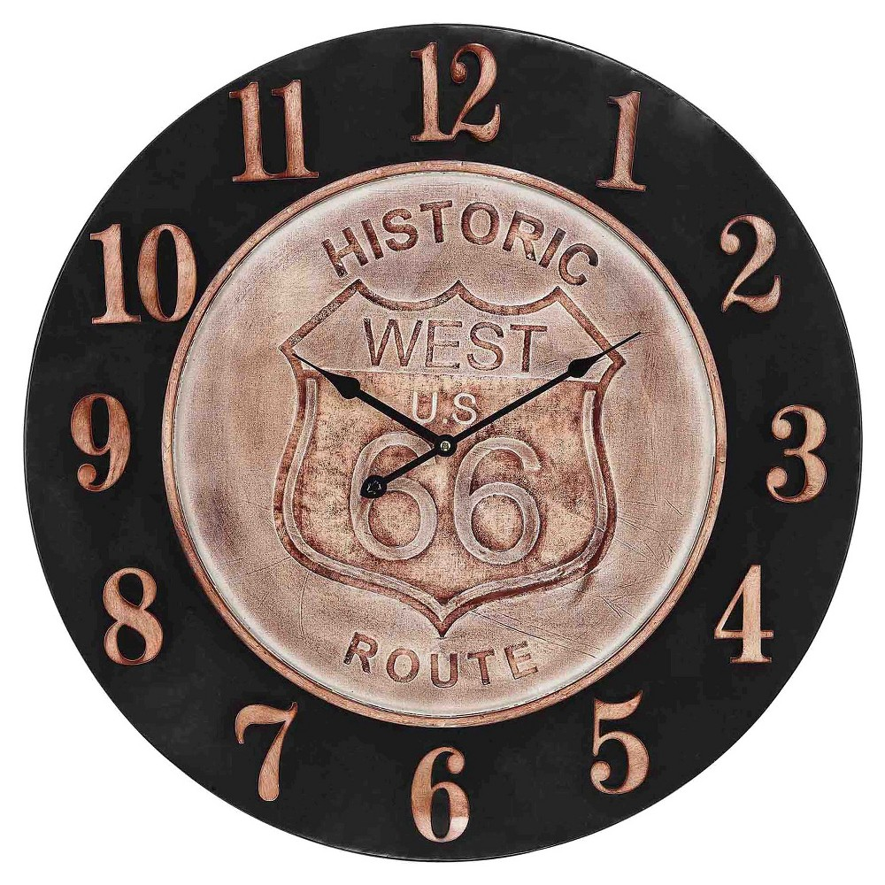 Image of Historic Route 66 24 Aged Parchment Wall Clock Bronze - Lazy Susan