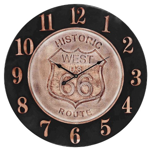 "Historic Route 66 24"" Aged Parchment Wall Clock Bronze - Lazy Susan® - image 1 of 2"