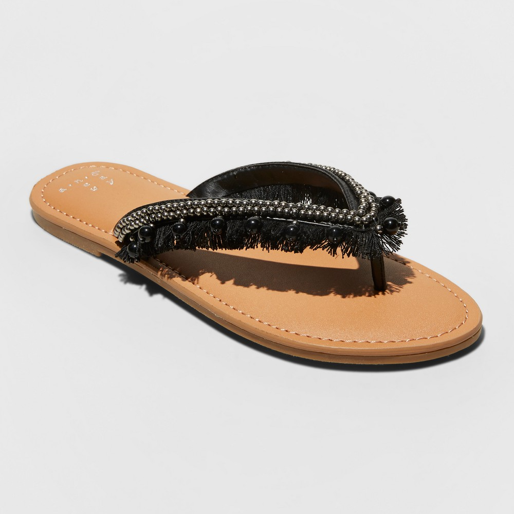 Women's Alexis Beaded Fringe Thong Sandals - A New Day Black 7