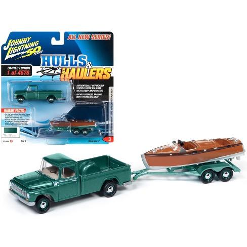 1965 International 1200 Pickup Truck Medium Turquoise Met. w/Split-Cockpit Boat Ltd Ed 4576 pcs 1/64 by Johnny Lightning - image 1 of 1