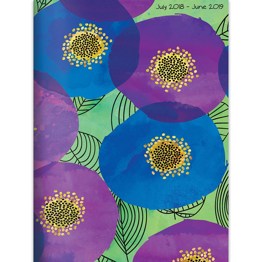2018 - 2019 Academic Bound Abstract Pansies Planner, Poppies