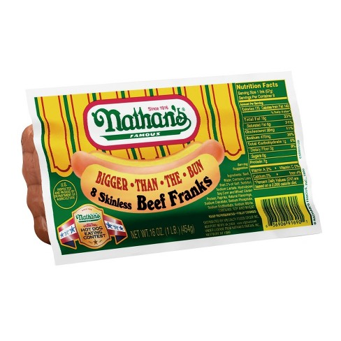 Nathan's Bigger-Than-The-Bun Skinless Beef Franks - 8ct/16oz - image 1 of 1