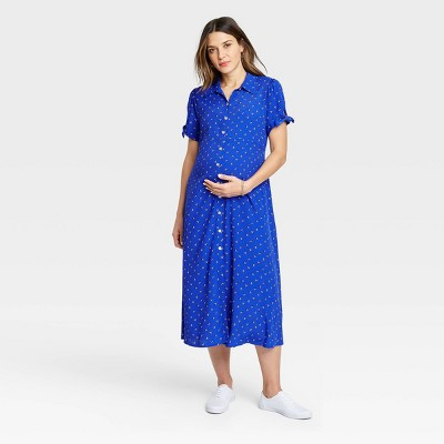 The Nines by HATCH™ Floral Print Tie Short Sleeve Crepe Maternity Dress Blue