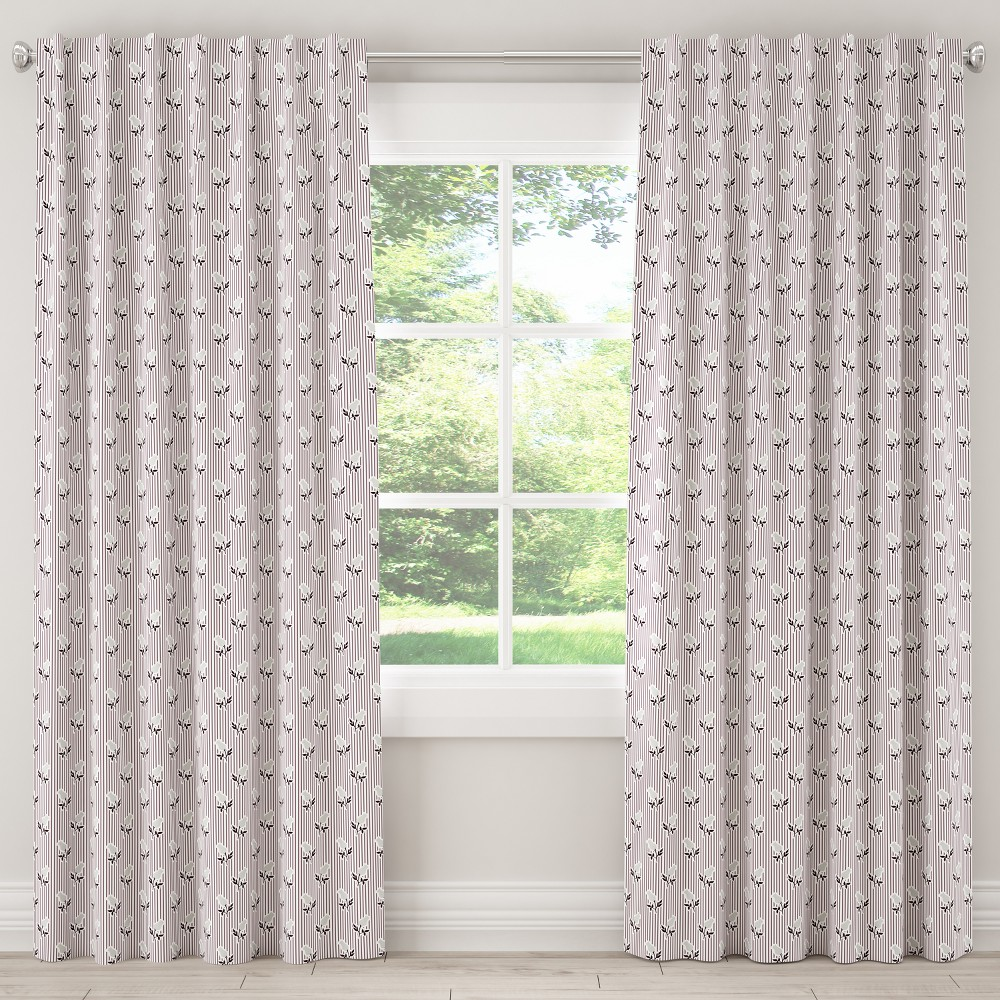 Unlined Curtain Brookline Floral Plum Gray 108L - Cloth & Co., Purple