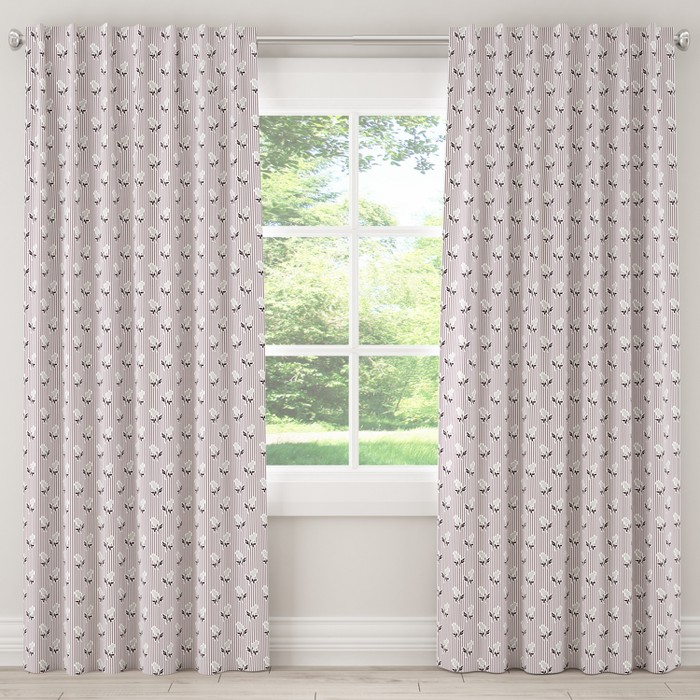 Unlined Curtain Brookline Floral Plum Gray 120L - Cloth & Co. - image 1 of 5