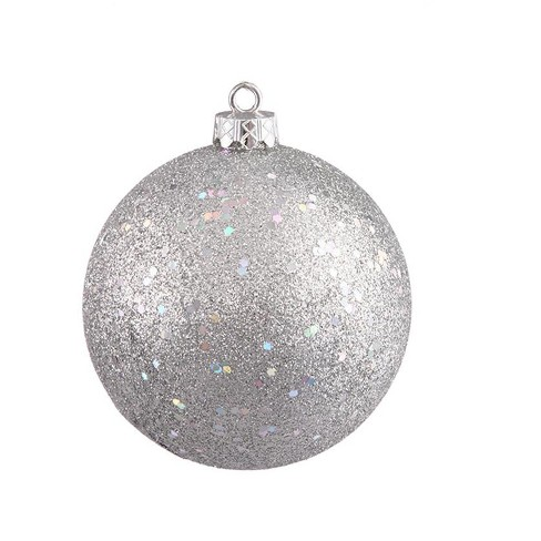 separation shoes a26ae c875d Northlight Silver Splendor Holographic Glitter Commercial Shatterproof  Christmas Ball Ornament 10