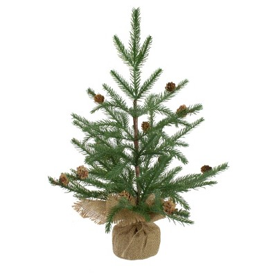 Northlight 2' Potted Pine Medium Artificial Christmas Tree in a Burlap Pot– Unlit