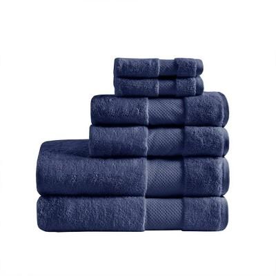 6pc Turkish Bath Towel Set Navy