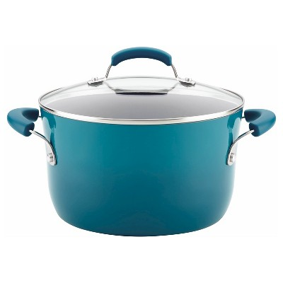 Rachael Ray 6qt Porcelain Enamel Aluminum Nonstick Covered Stock Pot Blue