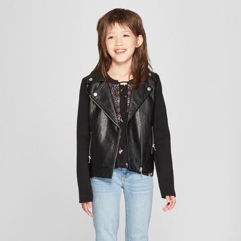 a756cd3d2ce5 Girls  Rib Sleeve Moto Jacket - Art Class™ Black   Target