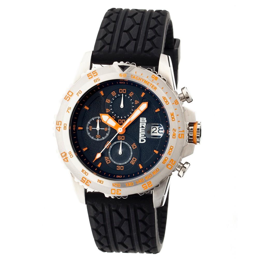 Men's Breed Socrates Full-Function Chronograph Silicone Strap Watch-Silver/Orange, silver orange