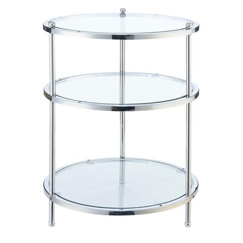 Royal Crest 3 Tier Round End Table Chrome Glass Johar