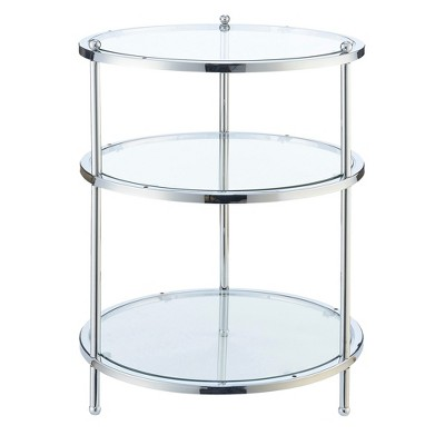 Royal Crest 3 Tier Round End Table   Chrome / Glass   Johar Furniture
