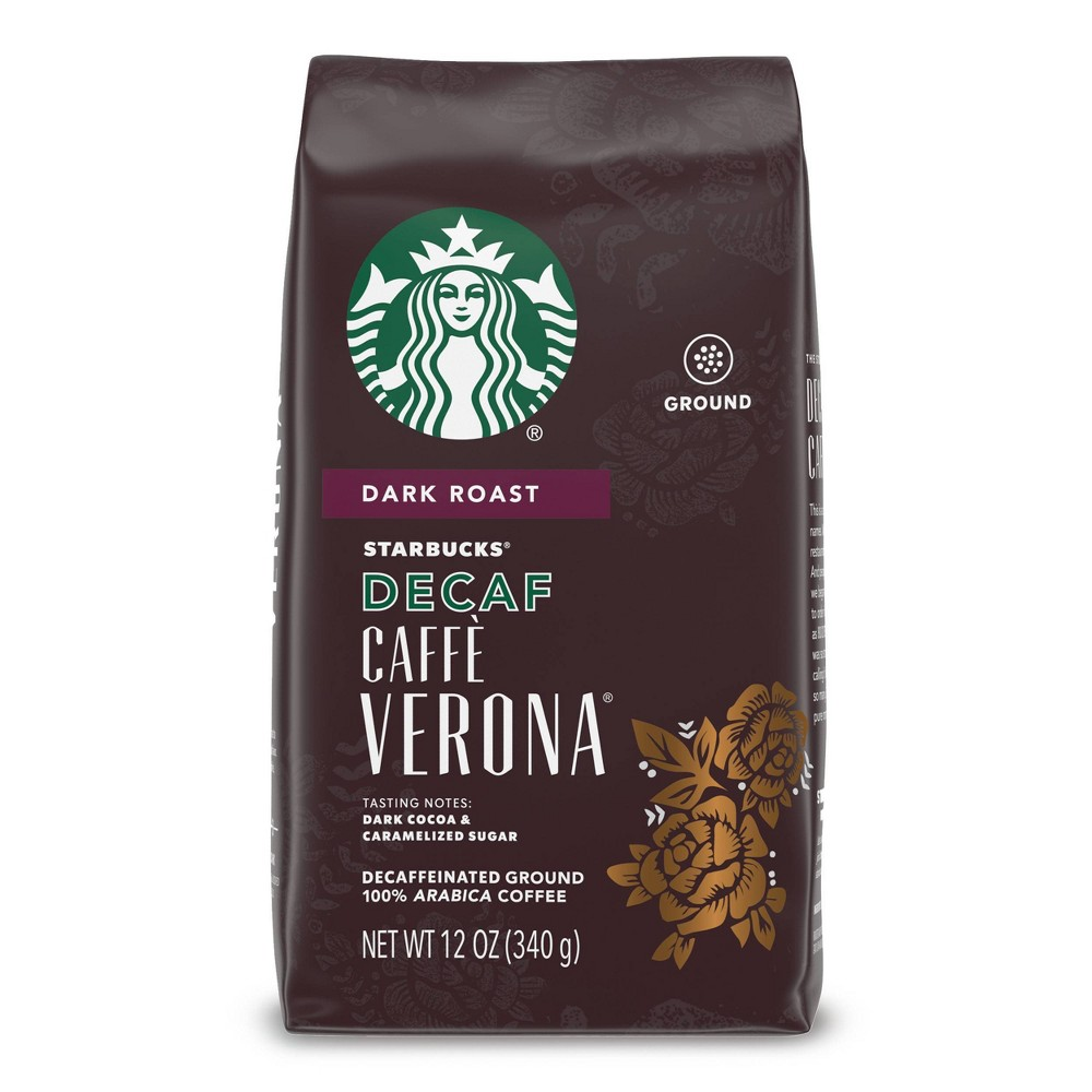 Starbucks Decaf Caff 232 Verona Dark Roast Ground Coffee 12oz