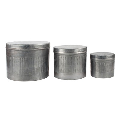 Aged Galvanized Metal Storage Boxes Gray 3pk - Stonebriar