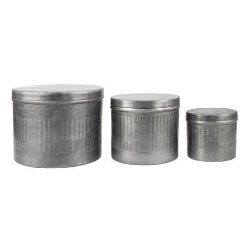 Aged Galvanized Metal Storage Boxes Gray 3pk - Stonebriar - image 1 of 4