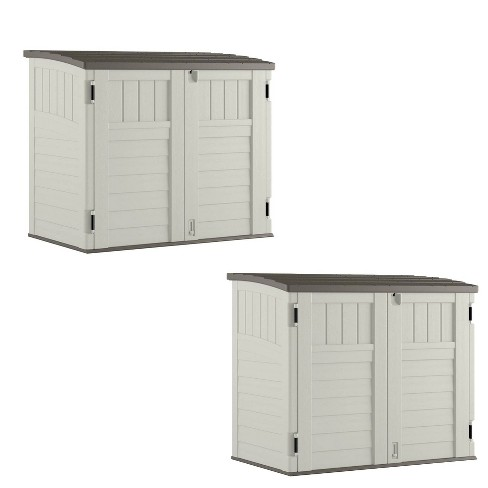 Suncast 34 CU Durable Resin Horizontal Storage Shed w/ Reinforced Floor (2 Pack) - image 1 of 4