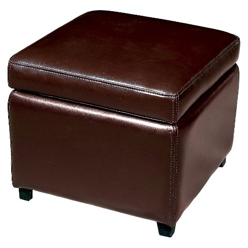 Full Leather Small Storage Cube Ottoman Dark Brown - Baxton Studio - image 1 of 5