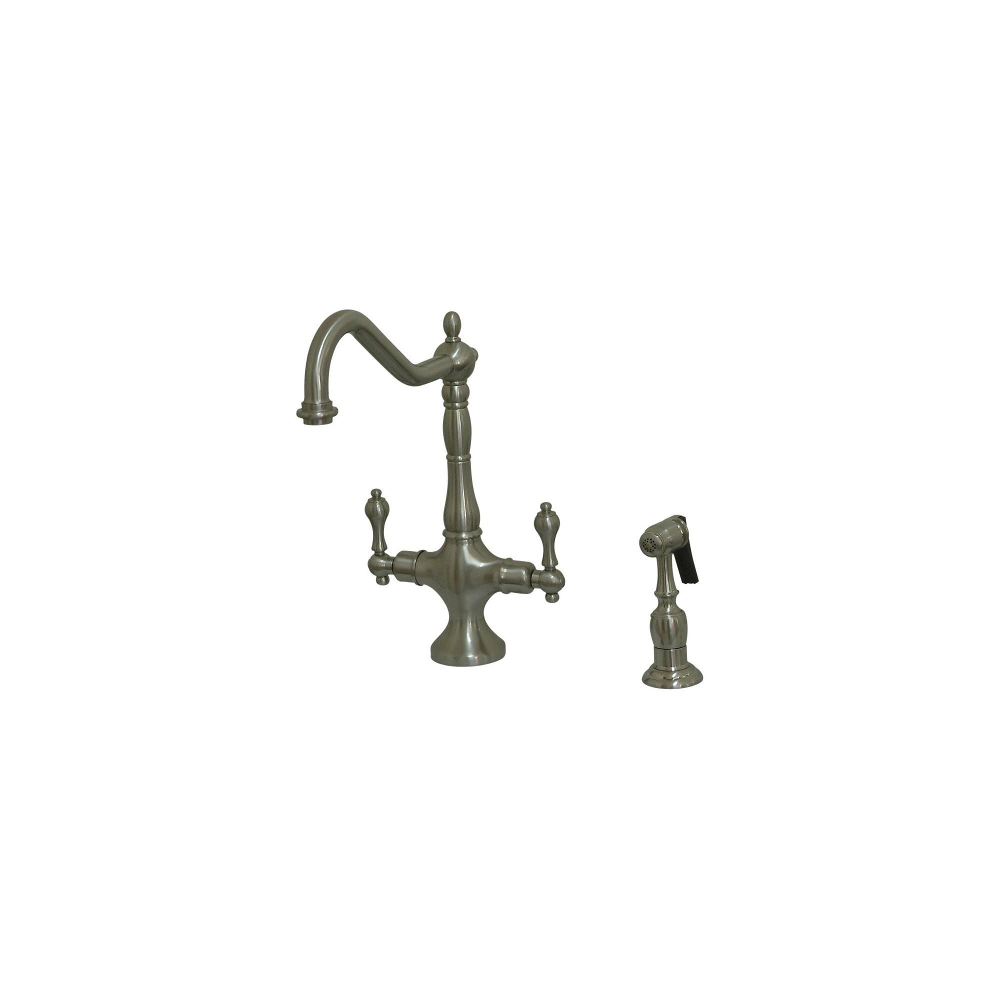 Satin Nickel Heritage Kitchen Faucet with Solid Brass Side Sprayer Satin Nickel - Kingston Brass