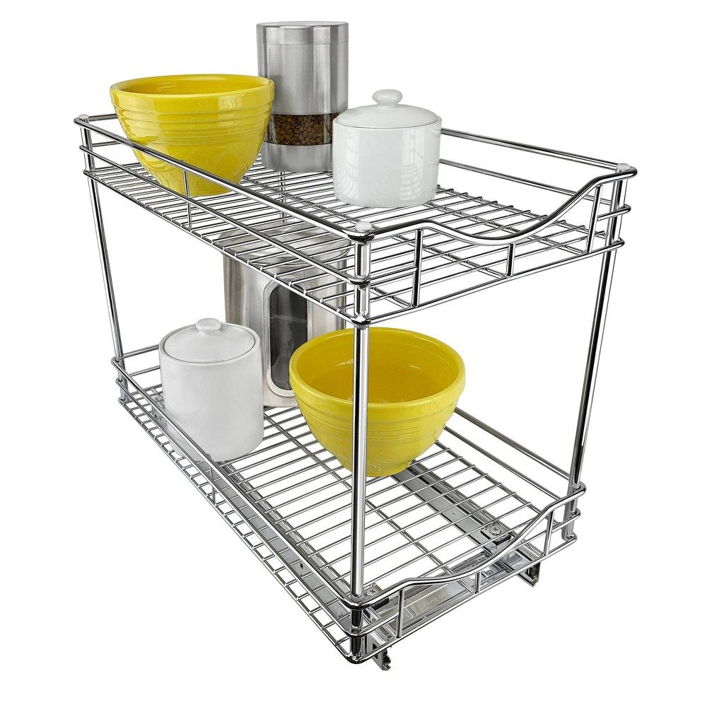 """Image of """"Lynk Professional 11"""""""" x 18"""""""" Slide Out Double Shelf - Pull Out Two Tier Sliding Under Cabinet Organizer, Silver"""""""