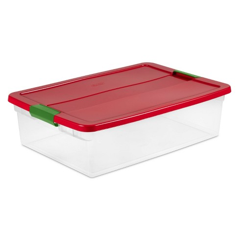Sterilite 15qt Latching Clear Storage Box Red Lid and Green Latch - image 1 of 4