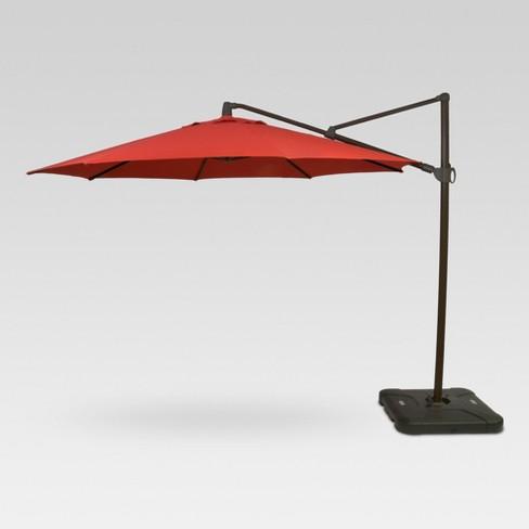 11 round offset patio umbrella with base black pole threshold - Black Patio Umbrella