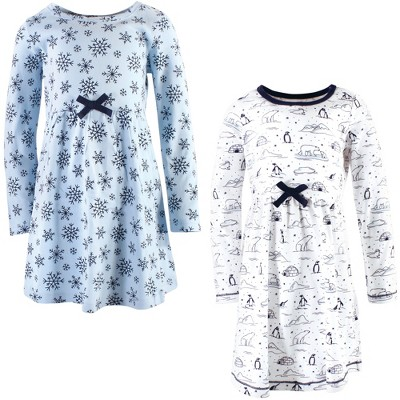 Touched by Nature Big Girls and Youth Organic Cotton Long-Sleeve Dresses 2pk, Arctic