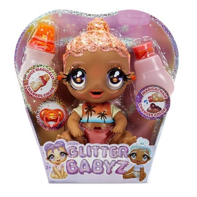 Glitter Babyz Solana Sunburst with 3 Magical Color Changes Baby Doll - Coral Pink Hair