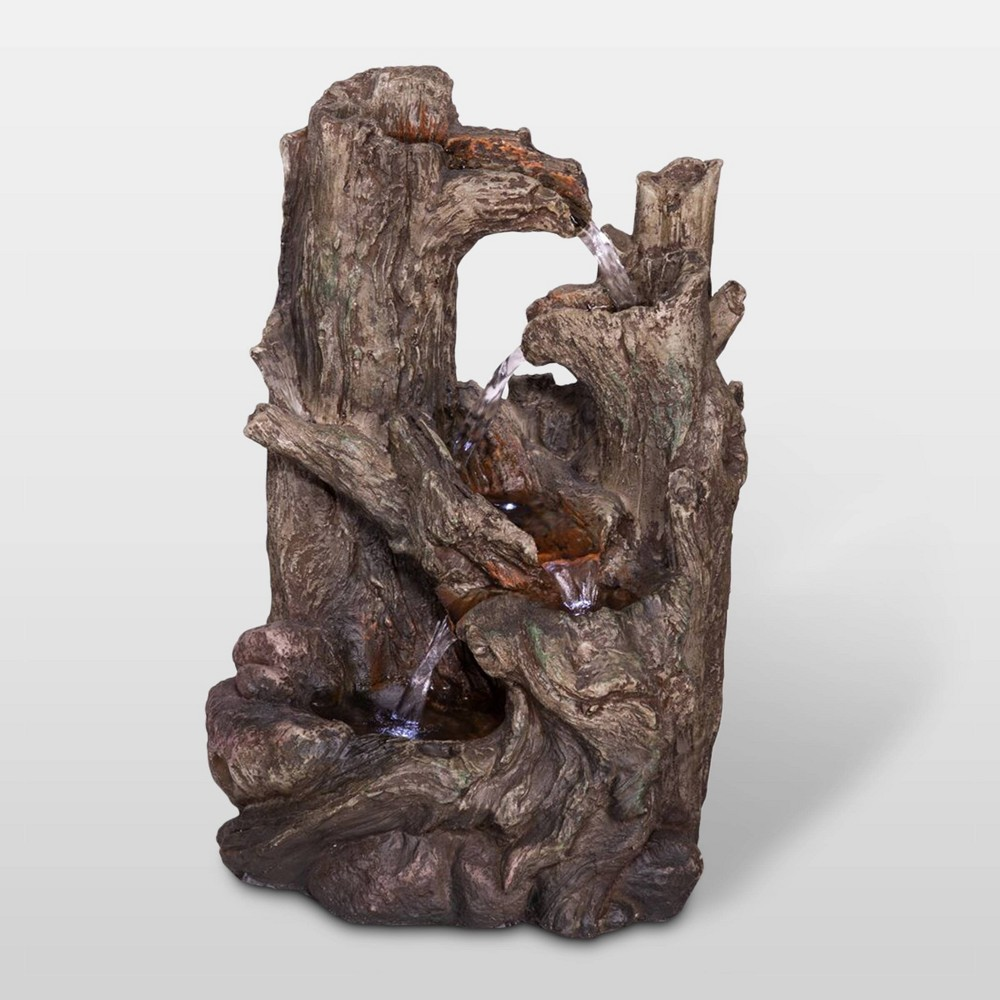 "Image of ""Alpine Corporation 14"""" 5-Tiered Rainforest Tree Trunk Tabletop Fountain - Brown"""