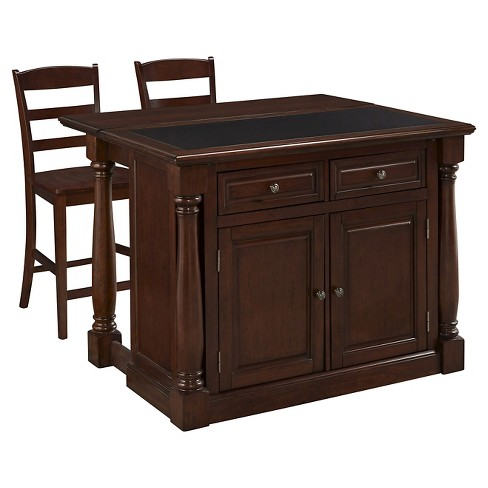 Monarch Kitchen Island with Granite Top with Two Chairs - Cherry - Home Styles - image 1 of 3